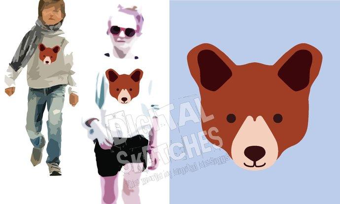 Bear Head Cut File Animals Vector Silhouette .SVG .DXF
