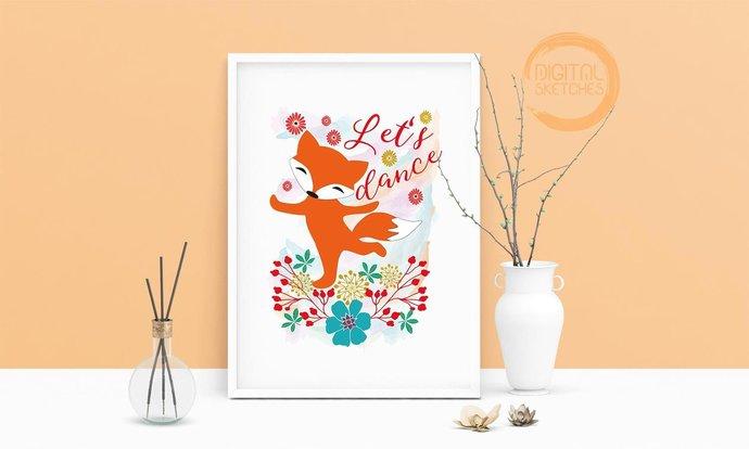 Saying Let's Dance Fox Printable Art, Wall Art, .PDF, Typography, Home Decor,