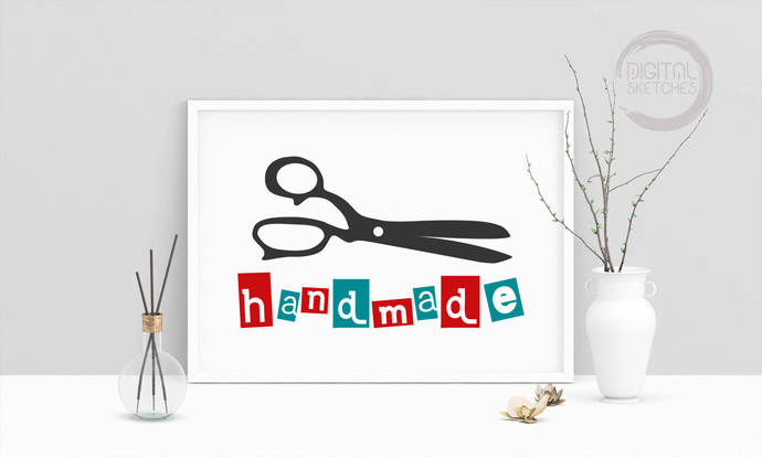 Saying Handmade DIY Love Printable Art, Tailor Scissors, Wall Art, .PDF,