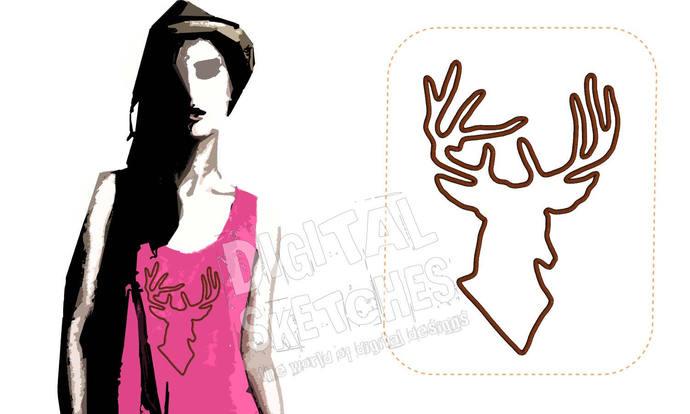 Deer Head Applique Design Machine Embroidery Design Antlers 5 Sizes