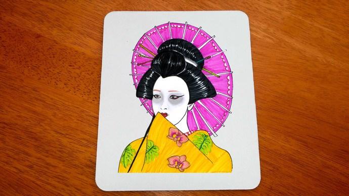 Japanese Geisha, Mouse Pad, Mouse Mat