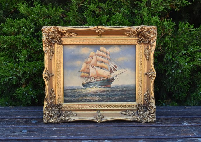 vintage Oil Painting In A Golden Frame shows sailing ship - vintage Oil Painting