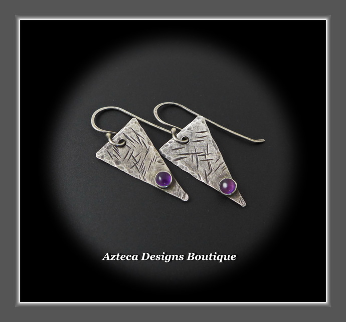 Edge~ Amethyst Gemstone Fused Argentium Silver Triangle Earrings