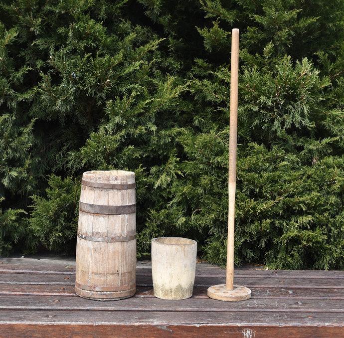 Vintage Antique Primitive Wooden Butter Churn Wooden Rustic Pail Farmhouse