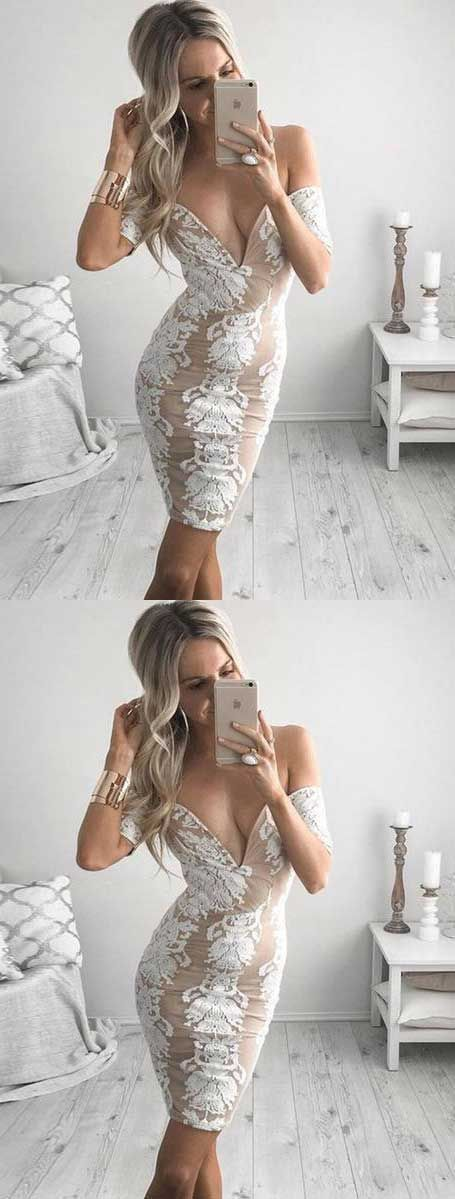Tight Off-the-Shoulder Short Chiffon Homecoming Cocktail Dress with Appliques