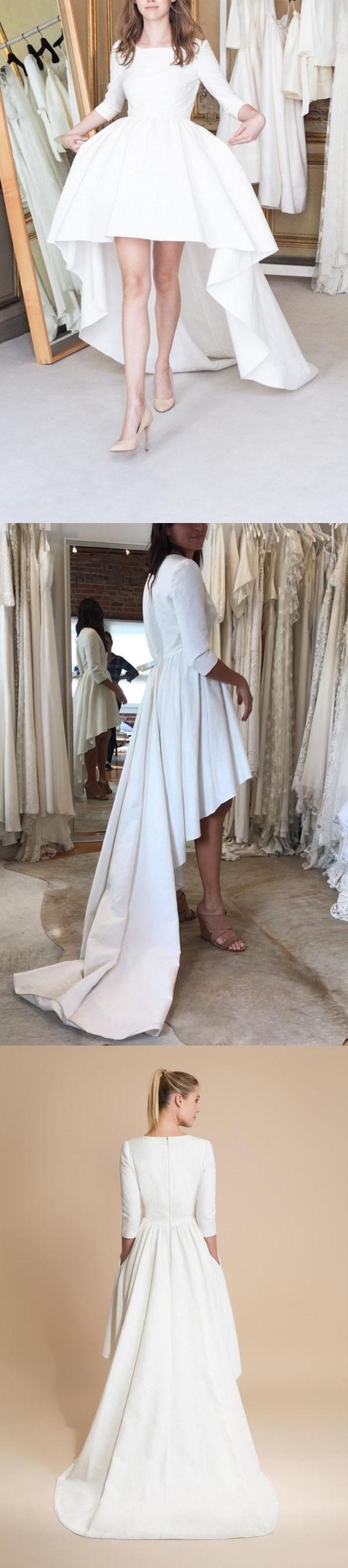 White A Line Asymmetrical 3/4 Sleeve Satin Wedding Dress,Beach Wedding Dress