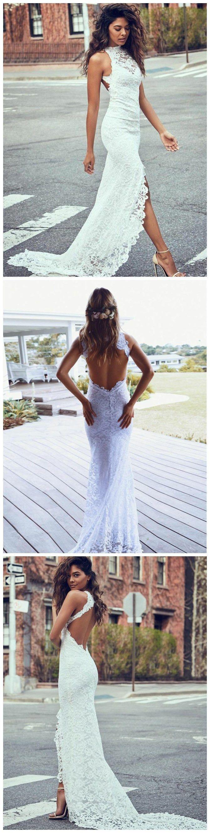 TRUMPET/MERMAID HIGH NECK SLEEVELESS LACE GORGEOUS WEDDING DRESS MODEST BRIDE