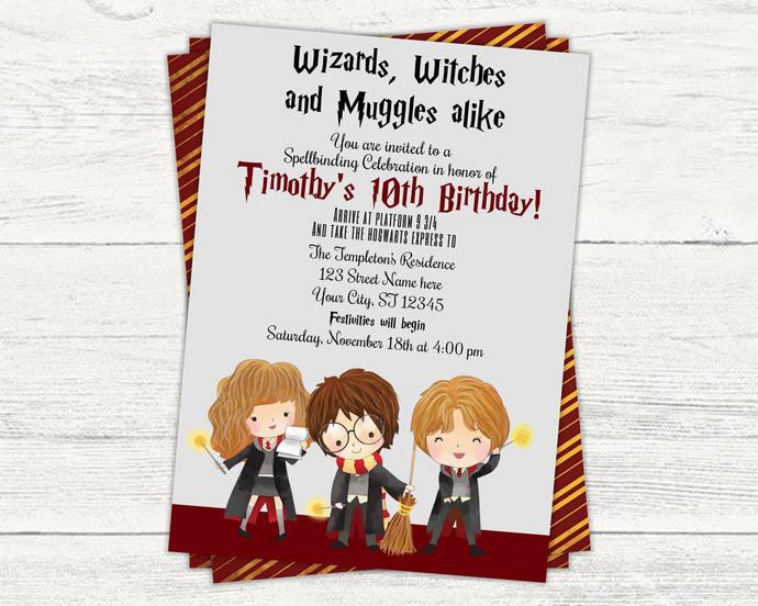 Harry potter birthday invitation by kreationsbykelleys on zibbet harry potter birthday invitation hogwarts wizard birthday magic hp filmwisefo