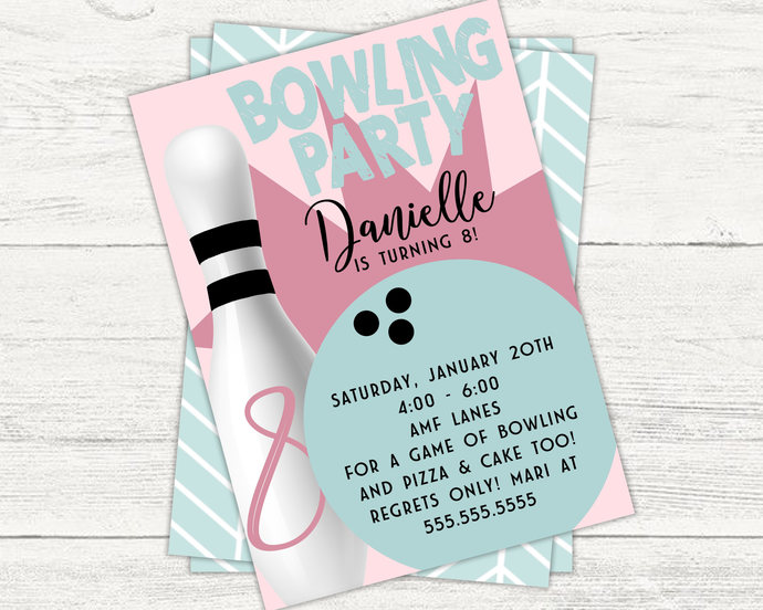 Bowling birthday invitation bowling by kreationsbykelleys on zibbet bowling birthday invitation bowling party birthday party girls birthday filmwisefo