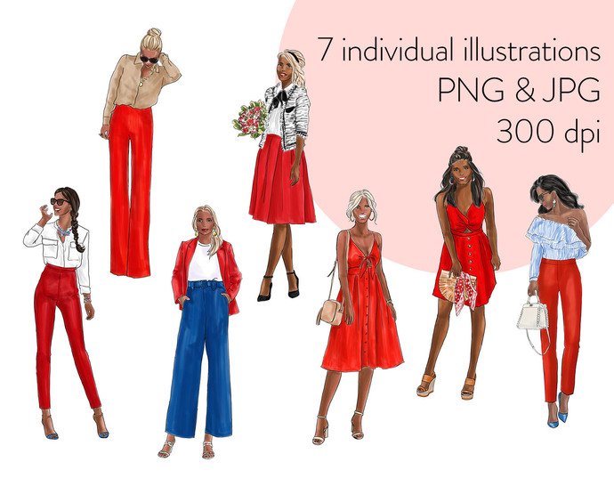 Watercolour fashion illustration clipart - Girls in red - Dark Skin