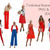 Watercolour fashion illustration clipart - Girls in red - Dark Skin