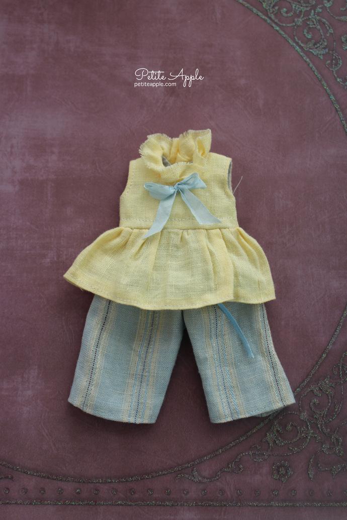 SALE! Pure linen 2 pcs pants set for Blythe doll *Ice lemonade*