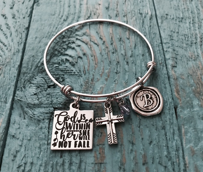 God is within her she will not fall Psalm 46:5, Christian, Cross, Silver