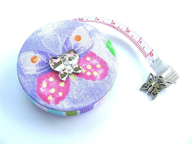 Measuring Tape with Pastel Butterflies Retractable Pocket Tape Measure