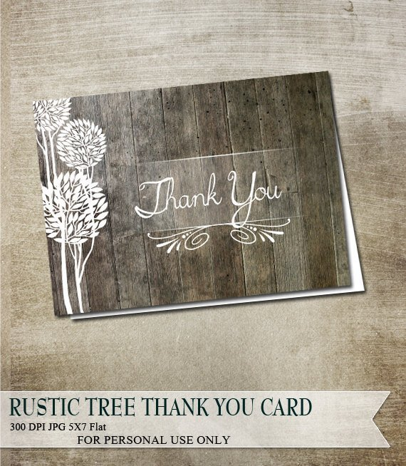 Country Rustic Thank You Card Wood Plank By Odd Lot Paperie On