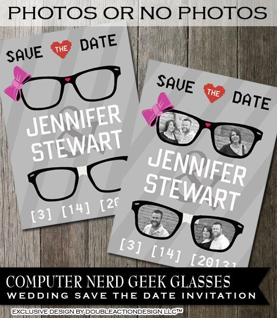 Geek Wedding Save the Date Invitation, Geek glasses with bows and hearts,