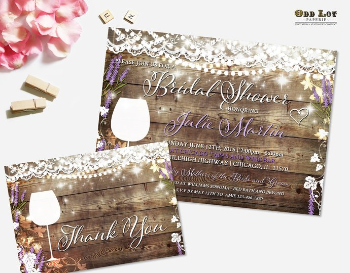eec6cb9e840 Rustic Bridal Shower Invitation Vineyard Wedding Shower Invite Wine Tasting