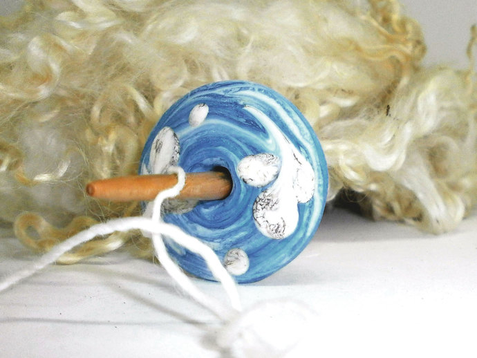 Lampwork Spindle Whorl in Marbled Blue Glass