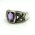 Vintage Amethyst Marcasite Ring, Sterling Silver Wide Band Ring