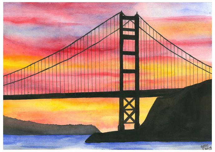 PRINTS - Golden Gate Bridge (Sunset)