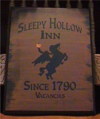 Primitive Sleepy Hollow Inn Sign Headless Horseman New York Folk Art Halloween