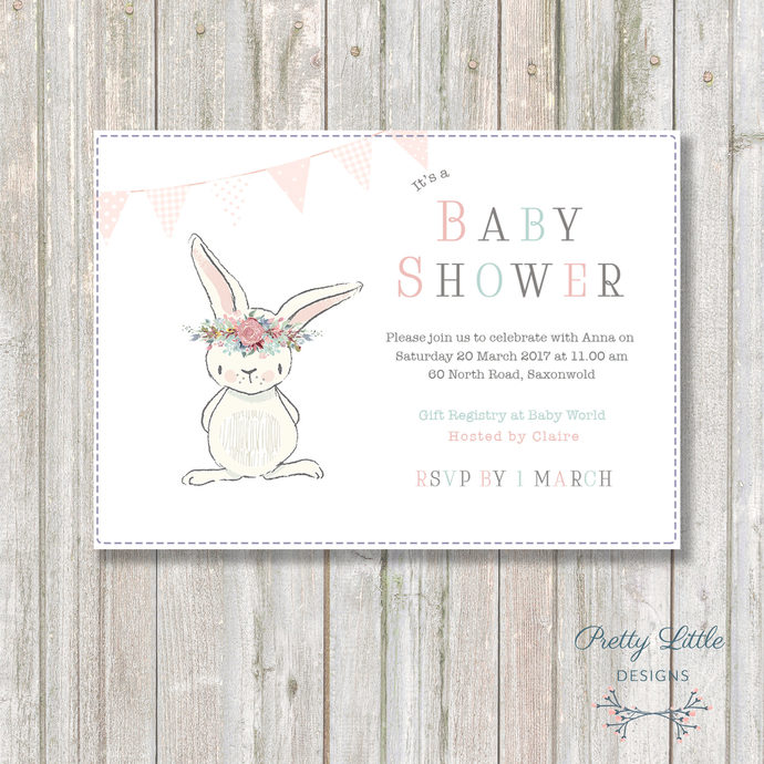 Bunny Baby Shower Invitation By Pretty Little Designs On Zibbet