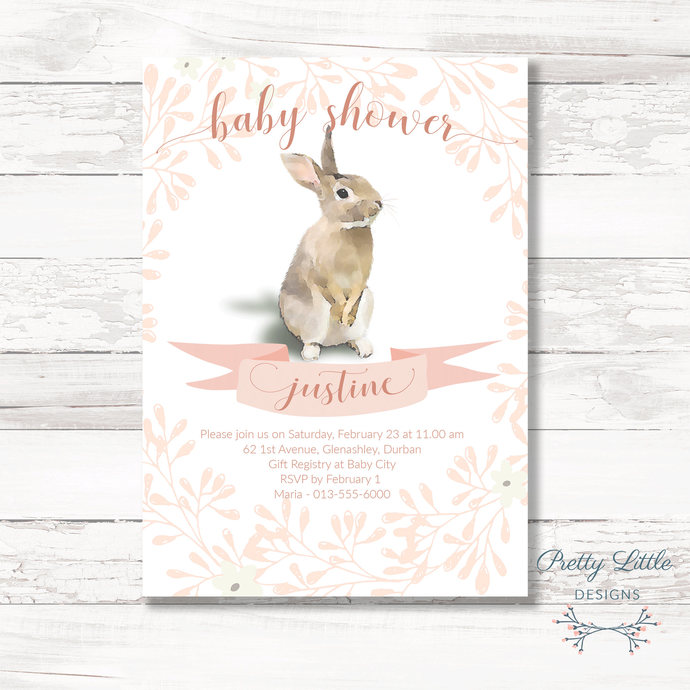 Pink Bunny Baby Shower Invitation By Pretty Little Designs On Zibbet