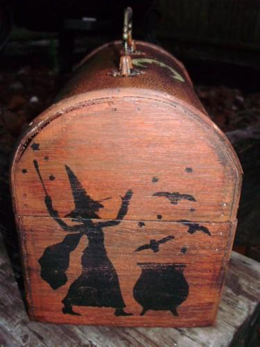 LAST ONE Witches Spells Chest purses purse box Magic Wicca Black Cats Primitive