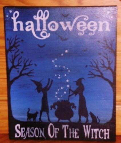 primitive Halloween Signs Season of the Witch Primitives samhain Plaque black