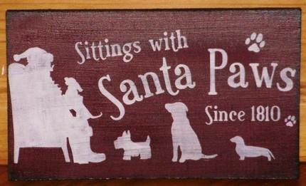 primitive Christmas decorations Dogs Sign Santa Claus signs Paws Puppies Folk