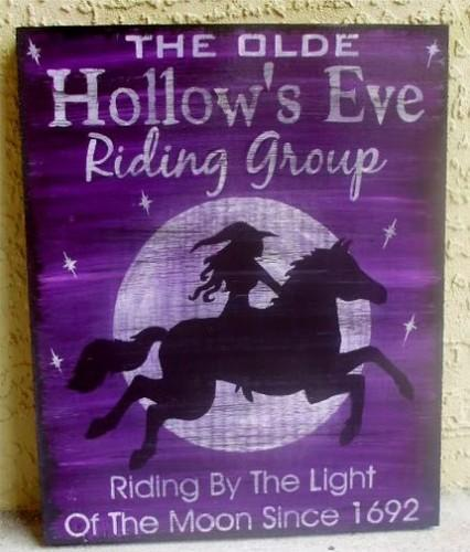 Witches Horses Halloween decorations Primitives Witches Signs Horse Fantasy