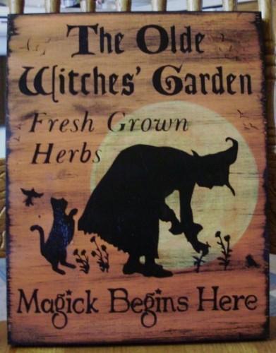 Garden Primitive Halloween folk art Olde Witches Garden Sign Herbal Witchcraft
