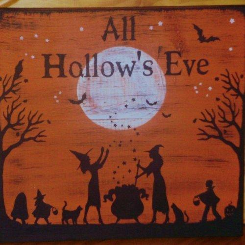 Primitive witch Halloween Signs Plaques Trick Or Treat Witches folk art