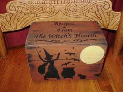 LAST ONE Primitive Recipe Box Witches Witch Witchcraft Halloween Folk Art Black