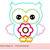 "Flower owl Machine Embroidery Applique Design -4x4 5x5 6x6"""