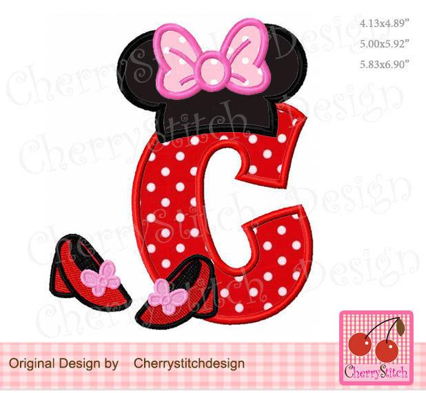 "Monogram C Minnie Letter C Machine Embroidery Applique Design - 5x5"" 6x6"" 7x7"""