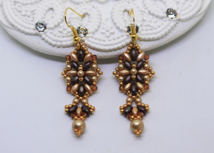 PDF Tutorial - Esme Earrings Instant download Beadweaving Instruction Beading