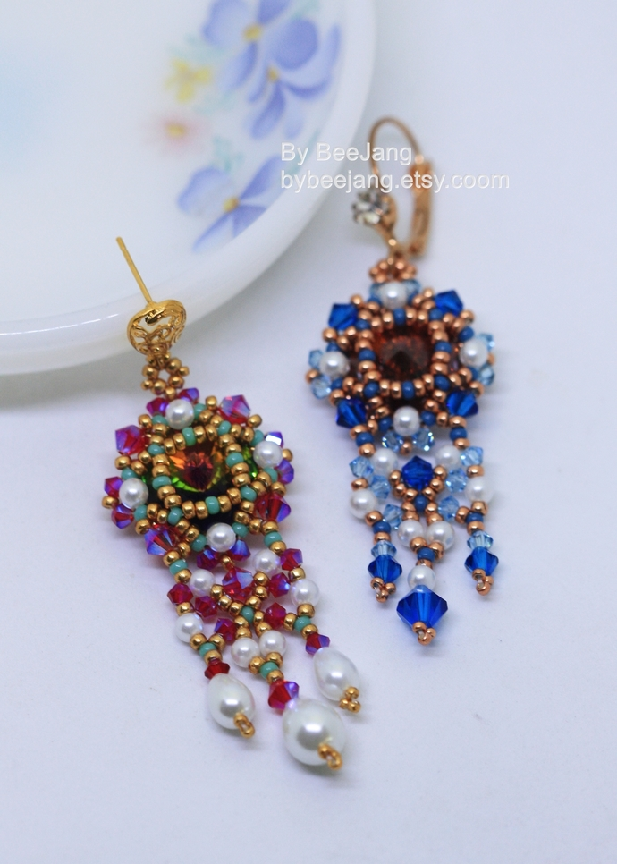 PDF Tutorial - Anchalee Earrings Beading Instruction Beadweaving Pattern