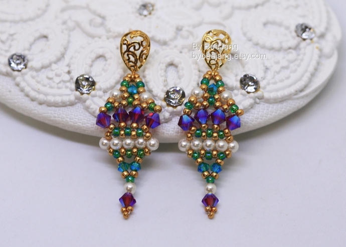PDF Tutorial - Indira Earrings Instant download Beadweaving Instruction Beading