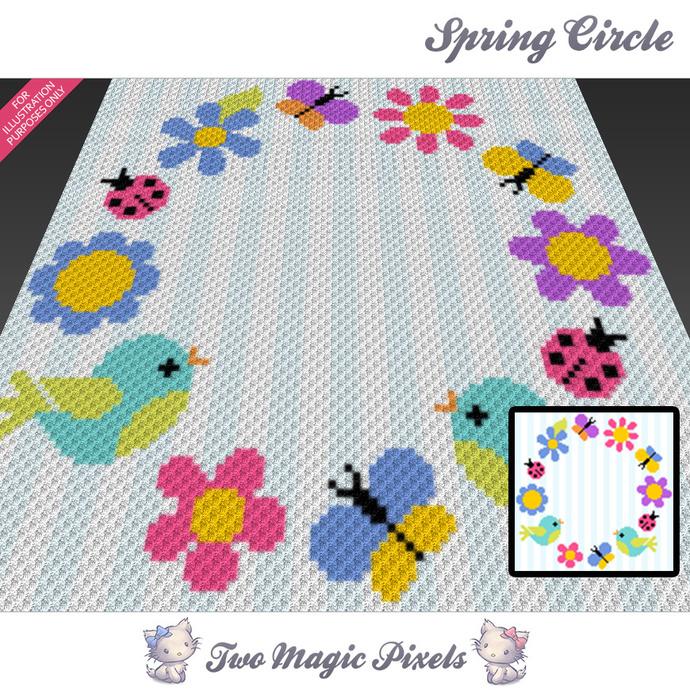 Spring Circle Crochet Blanket Pattern C2c Twomagicpixels