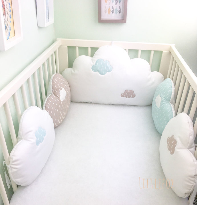 Bab cot bumpers, cloud cushions in taupe, celadon blue and white fabric