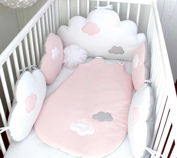 Baby cot bumpers, clouds cushions in pale pink, white and grey