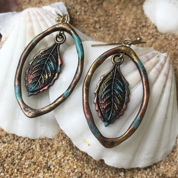 Boho Burnished Copper Leaf Dangle Earrings