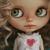 Vintage heart dress for Blythe doll