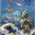 Buddha and Goldfish Digital Collage Greeting Card5676