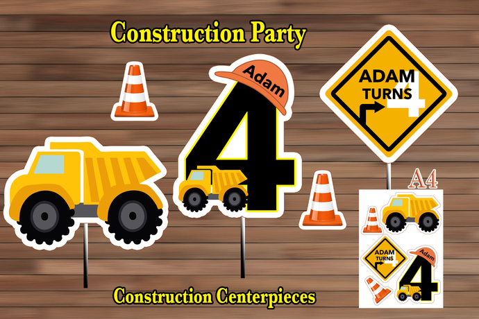 Construction Birthday Party Decoration, Construction Centerpiece, Construction