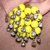 1950s Yellow Bead Rhinestone Earrings Clip-on Mid-Century