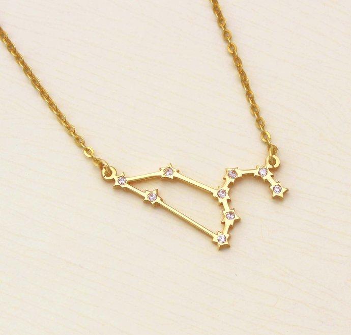 Leo Necklace - Zodiac Necklace - Zodiac Signs - Leo Necklace with Diamond -
