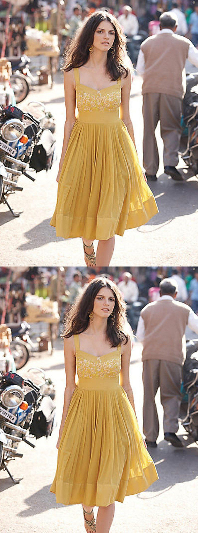 Yellow Homecoming Dress, Chiffon Homecoming Dress, Knee Length Homecoming Dress