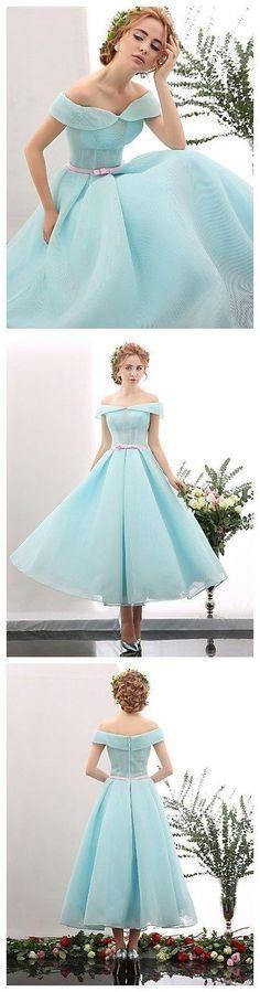 Fashion off shoulder short prom dress, mint green satin prom dress for teens